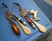 Bohemian Unicorn Dangle Earrings - Brass Charms Filigree Flowers Rhinestone & Czech Glass Bead Dangles  - Boho Fashion Jewelry Gift For Her