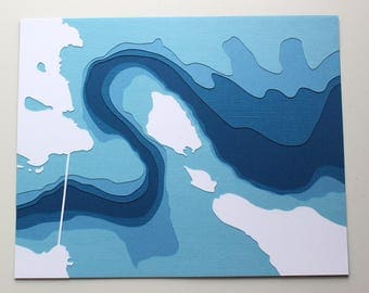 The Straits of Mackinac - original 8 x 10 papercut art