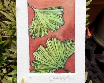 Hand-Colored Art Print Etching on Cotton Paper - Ginko