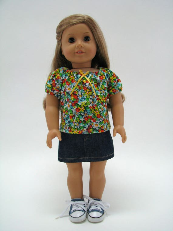 """18 Inch Doll Clothes - Girl Doll Clothes - 18 Inch Doll T-Shirt - 18"""" Doll Top  - Fits like American Girl  - Flower Top - A Doll Boutique"""