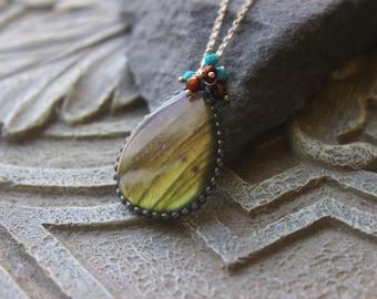 Large Labradorite Pendant,   Golden labradorite, healing gemstone, bohemian chic, metalwork pendant