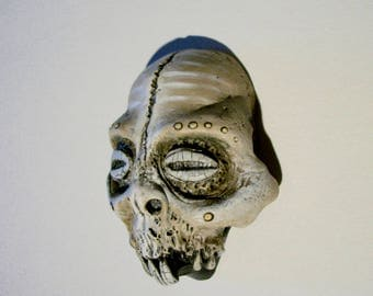Voodoo, Tribal, Skull, Zombie, Vanuatu skull, Horror Sculpture, Witch, Zombie Head Pendant