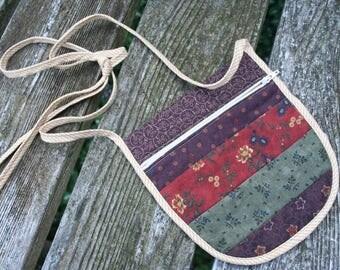 Small quilted earthtone bag purse stash shoulder handbag zipper pouch