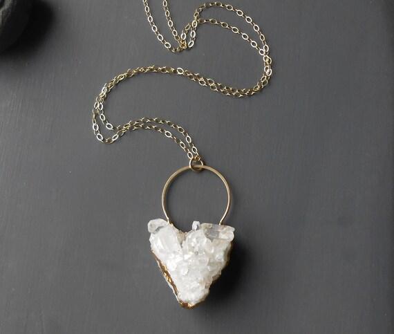 Long Crystal Quartz Pendant Necklace