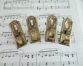 Four Vintage Brass Pulls With Key Hole / Escutcheon