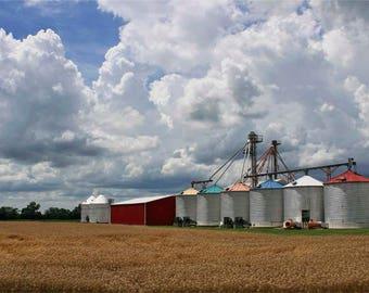 Autumn Farm Photography - Colourful Silos and Golden Field Photograph - Ohio Farmland Wall Art - Fall Preparation - Big Blue Sky - Americana