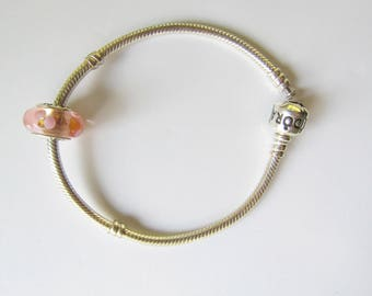 Pandora Sterling Silver Bracelet with Pink Murano Glass Flower Charm with Original Box 1644D