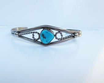 """Native American - Signed CLAW - Sterling Silver and Turquoise Cuff Bracelet- 6 - 7 """"    1866"""