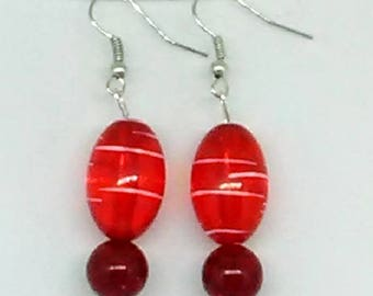 Red Striped Oval with Dark Red Round Beaded Earrings