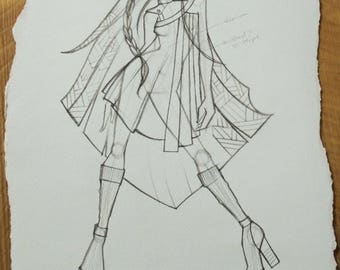 Original Fashion Sketch, Project Runway Designer, Fashion Illustration, Home Decor, Office Decor, Fashion Design