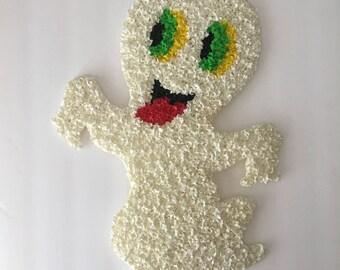 Casper Friendly Ghost Wall Hanging Vintage Melted Plastic Popcorn Autumn Halloween Cartoon