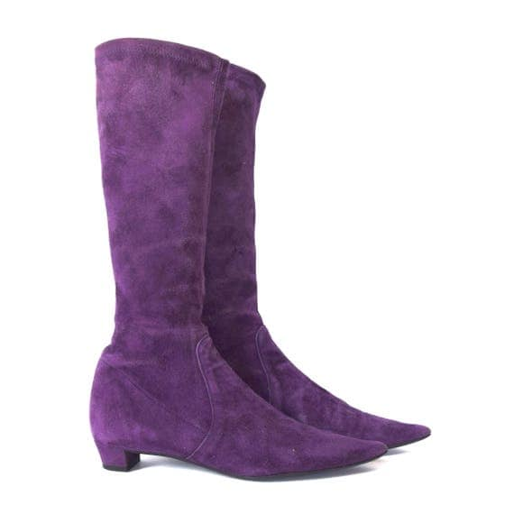 Vintage 80s does 60s Purple Suede Leather Pointed Toe Mid Calf Boots