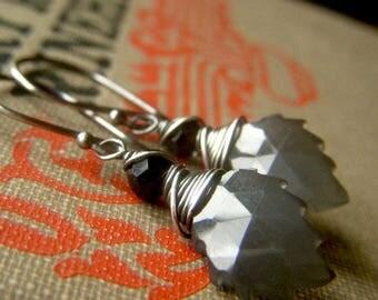 Gray Moonstone Earrings Sterling Silver, Wirewrapped Gray Carved Leaf Gemstone Earrings, Dangle Marquise Grey Earrings Natural Stone