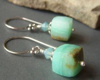 Peruvian Blue Opal Cube Earrings Sterling Silver, Short Earrings, Petite Mint Seafoam Green Gemstone Dangle, Seafoam Green Earrings