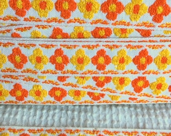 Vintage Embroidered Woven Trim - Bright Orange and Yellow Daisies - Happy and Fun - By the Yard