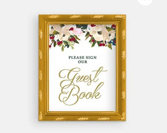 Printable Wedding Sign - Wedding Guest Book - Floral Wedding - Guestbok Sign - Printable Guest Book Sign - Printable Wedding -Gold Foil