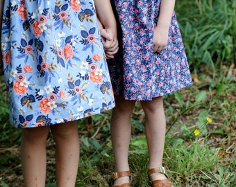 Coordinating Sister dresses sibling outfits Fall Rifle Paper Co. boho floral navy blue, coral periwinkle gold baby girl toddler photoshoot