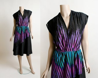 Vintage 1970s Dress - Electric Blue and Purple Ombre Effect Sheer Wrap Style Asymmetrical Peplum Disco Dress - Striped Color Block - Medium