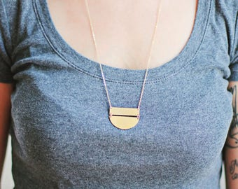 Geometric Bar Half Moon Necklace - Brass | 14k Gold Filled | Sterling Silver