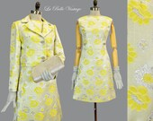 Shannon Rodgers Brocade Suit S Vintage 60s Jerry Silverman Yellow Silver Jacket Dress Gloves Purse Set