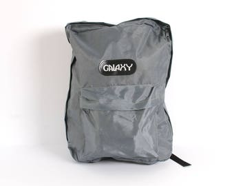 GRUNGE grey SILVER nylon canvas 80s 90s BACKPACK jansport style unisex grunge rucksack