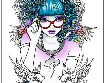 Star - Curly Haired Angel - Digital Download - Coloring Page - Myka Jelina - Swallow Birds - Lightning Bolt - Wings