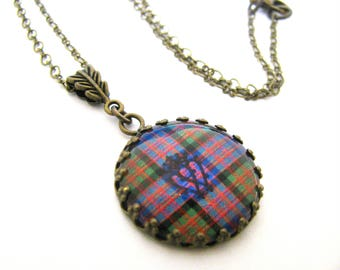 Scottish Tartan Jewelry - Ancient Romance Series - MacDonald Clan Tartan Fob Necklace w/Luckenbooth Image and Leaf Bail