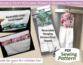 Double Duty Kitchen Towels PDF Sewing Pattern. Reversible. Hanging Towel. Continuous Loop Towel. DIY Hostess Gifts. Holiday Decor