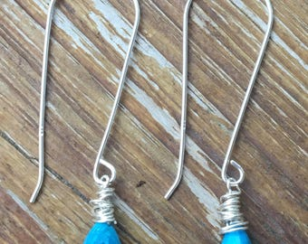 Faceted Turquoise Gem Sterling Earrings