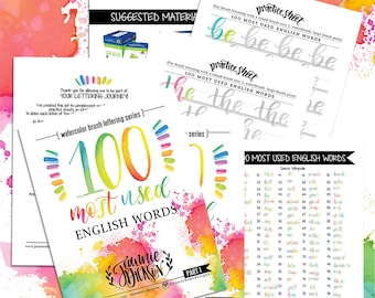 100 Most used English Words - Watercolor Brush Lettering Printable Practice Sheets - Over 100 pages - PDF file Only