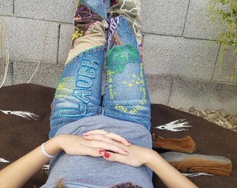 Custom boho embroidered jeans, made to order
