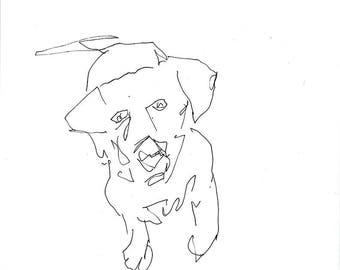 Sketchbook Sale - Dog #5 Original Ink Line Drawing - 8x10 Original Art