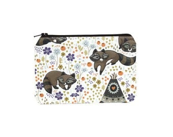 CHOOSE SIZE Raccoon Campers Zipper Pouch / Trash Panda Camera Bag on Cream / Make Up or Coin Pouch