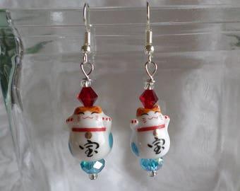 Maneki Neko Lucky Cats Both Paws Raised Symbolic for Treasure Earrings