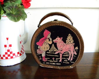 This Listing is RESERVED-Vintage Little Round Suitcase with Little Red Riding Hood and Wolf Doll Case 1930s