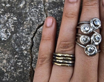 Silver pebble stacking rings -  Signity cubic zircon-Stackable ring - Ready to ship- In your size  - Organic design - Nature inspired
