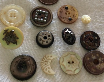 Dozen Carved and Decorative Antique Pearl Buttons