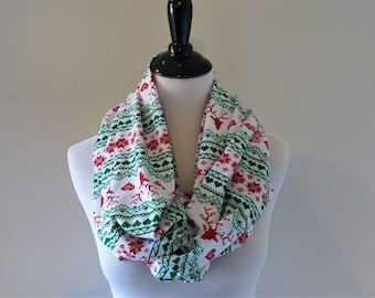 Fair Isle Reindeer Infinity Scarf -Clothing Gift - Christmas Scarf - Christmas Infinity Scarf - Red Reindeer and Heart Scarf - Nordic Scarf