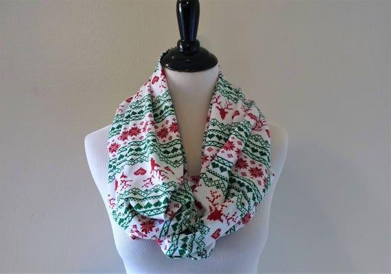Fair Isle Reindeer Infinity Scarf Clothing Gift Christmas
