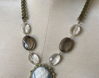 Wedgewood Vintage Repurposed Cameo Necklace Blue Gray Gold Victorian Steampunk Romance