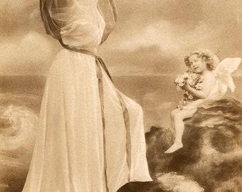 Vintage French Lady RPPC postcard -  VC027
