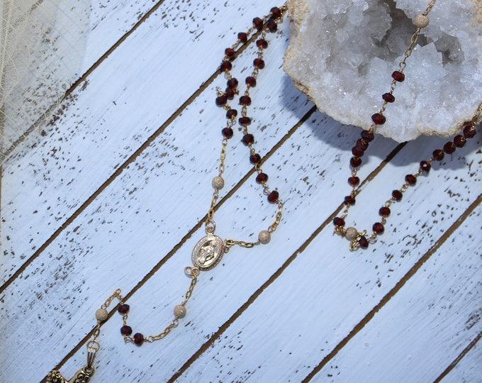Garnet Rosary Necklace