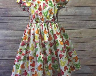Matilda Peasant Dress Minnie and MIckey fabric
