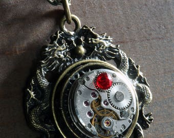 Steampunk Oriental Jewellery -  Pendant - Dragon and Antique Watch Movement with red siam swarovski crystal