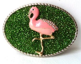 Womens Belt Buckle - Pink Flamingo Belt Buckles - Pink Green Belt Buckle - Preppy Belt Buckles- Resort Wear - Cruise Wear - Womans Gift Idea