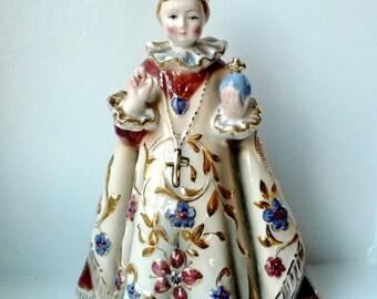 "RARE Lefton Infant of Prague Statue- Fancy Jesus Holy Infant Figurine - Hand Painted Porcelain- Religious Decoration- Easter Decor- 8 1/2"" h"