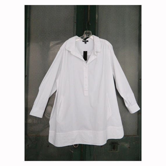 Premise Woman Crisp White Pullover Blouse with Pockets -16W- Cotton/Poly/Spandex NWT