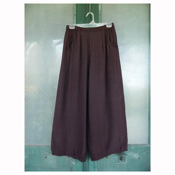 Vintage Angelheart Designs Jeanne Engelhart Reversible Pinch Pants -S- Maroon/Gray Grapevine