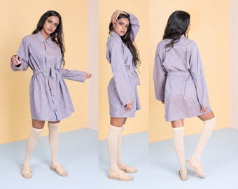 SHIRT DRESS oversize MINI button up belted Tunic vintage loose Long Sleeves / Medium Large / better Stay together
