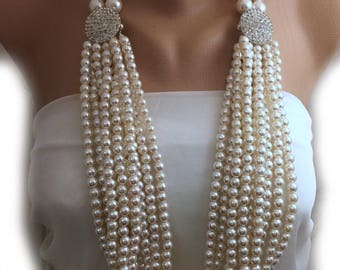 3 different uses ,Multi Strands Layered Pearl Necklace with Crystal Clasp